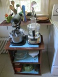 Old kitchen cart with appliances