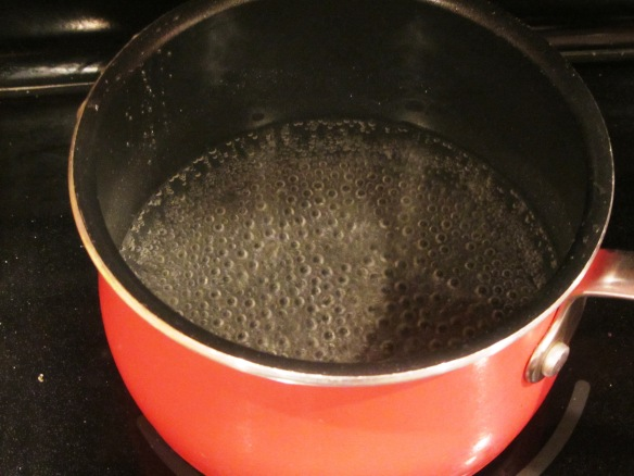 Bring it to a simmer over low heat.  Do not let it boil.