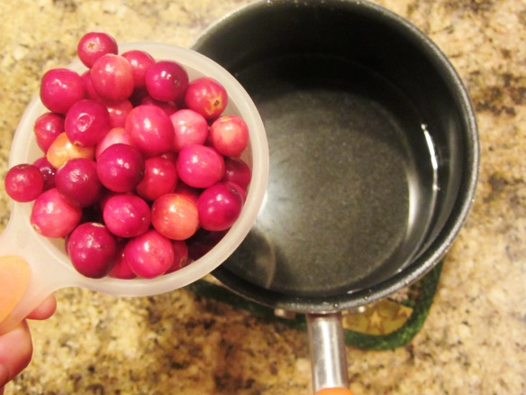 Remove from heat and add your cranberries.