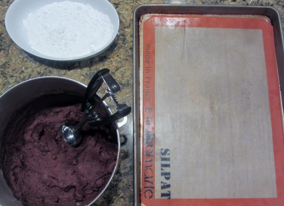 Line a baking sheet with parchment paper or a baking mat, get your dough out of the fridge, and get a dish of powdered sugar ready to go.  Your cookie making station is now ready!