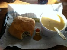 The wonderful Original Krautburger and a steaming side of creamy potato soup.  Sorry the lighting isn't great, but I didn't have time to mess with it...I was hungry!!