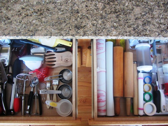 Speaking of kitchen utensils...check out these drawers!  I think this is the most organized they have ever been.  One is for utensils & the other is for rolling pins, mats, and cake decorating accessories.