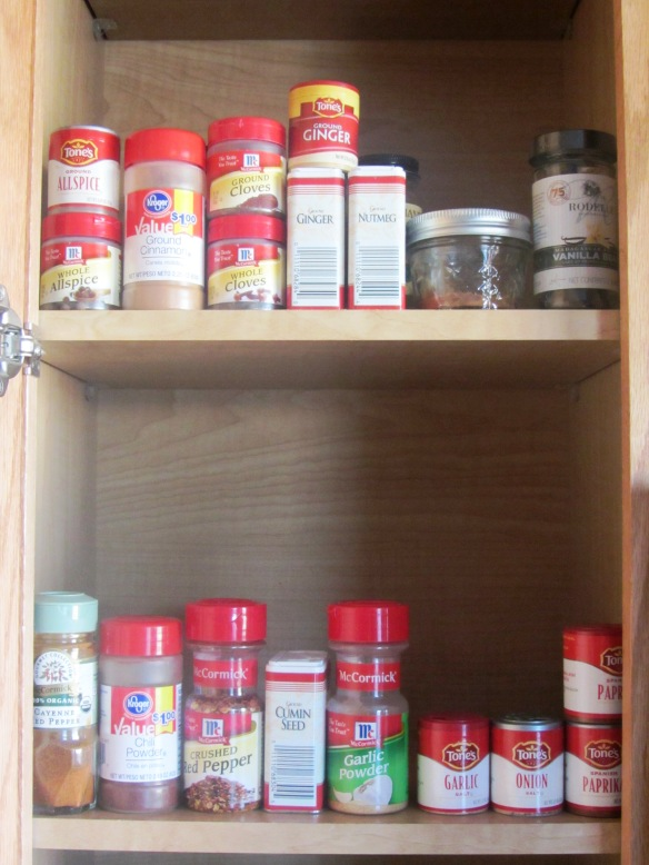 Let's take a closer look at that.  One shelf for commonly used cooking spice and another for baking spices.  In alphabetical order, of course.