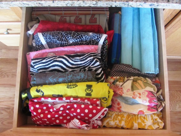 My apron & place mat drawer.  Colorful!