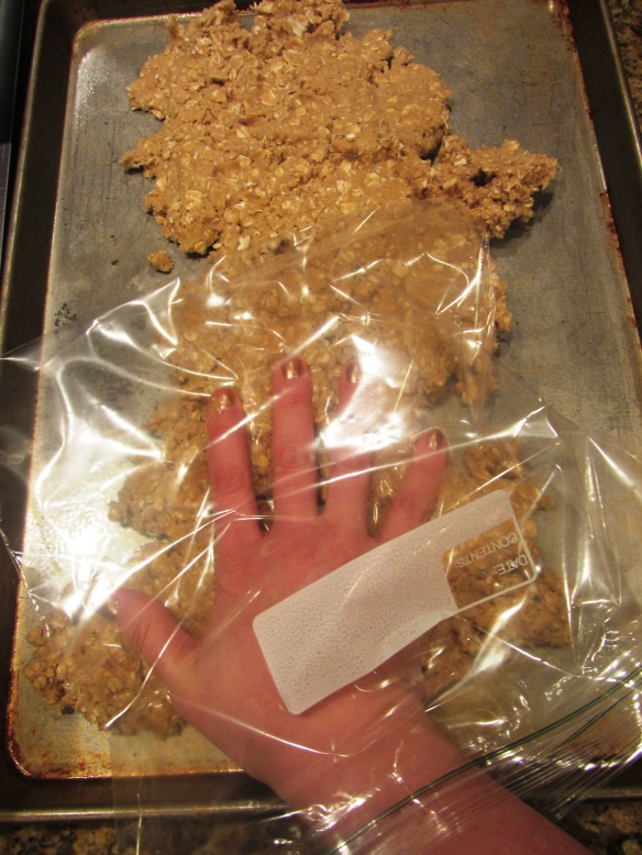 Use a plastic bag to help you spread 2/3 of the oat mixture onto an 18x13 inch pan.