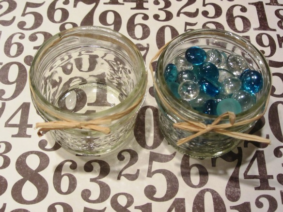 74 beads will make their way day by day to the jar on the left.  The sweet kerplunk of each bead is like music to my ears.