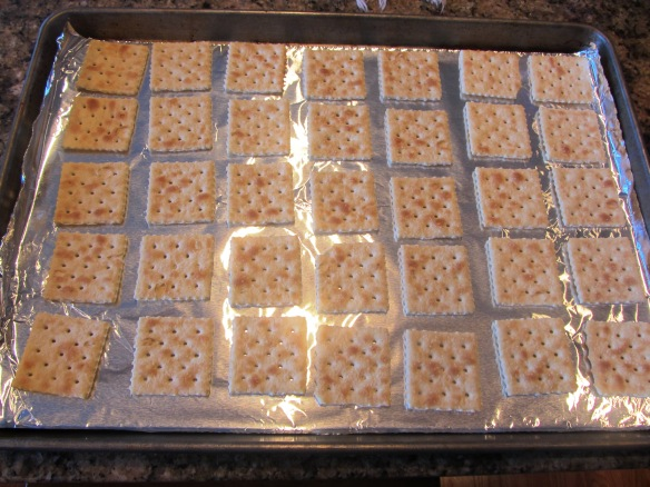 Place crackers on a foil-lined jelly roll pan like this.