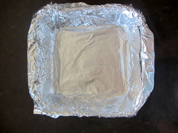"Line an 8x8"" baking pan with foil."