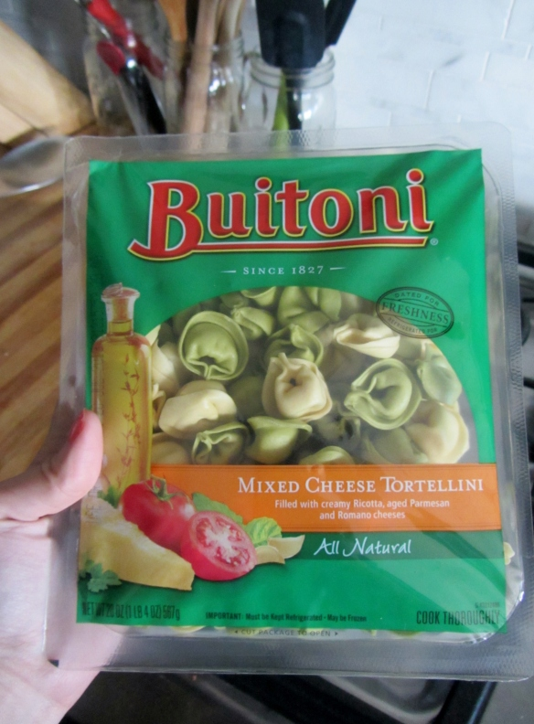 I used a dual colored tortellini from Buitoni, it was less expensive than buying two boxes of dry tortellini and it tastes great!
