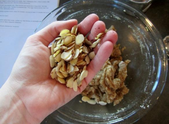 Add slivered almonds.