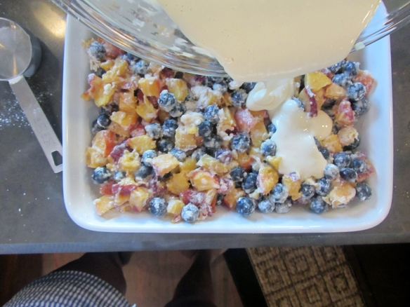 Add the fruit mix to an 8x10 dish and pour the sour cream mixture over the top.