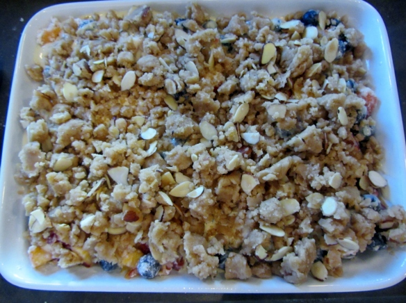 Cover the top with the crumble mixture.
