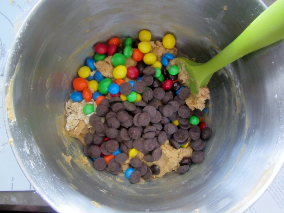 Fold in the M&M's and chocolate chips.