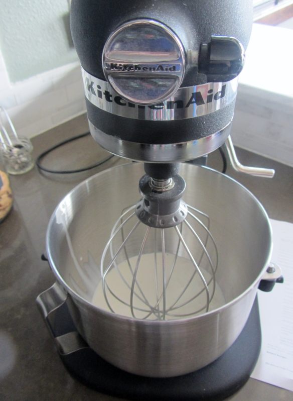 Add 2 cups of heavy cream to a stand mixer fitted with the whisk attachment.