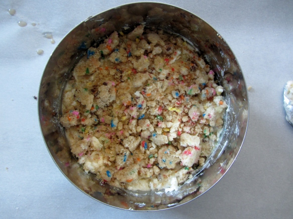 On go some of the cake crumbs.