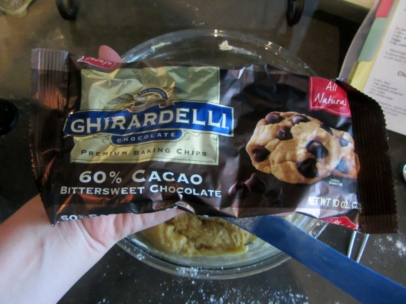 One of the keys to good chocolate chip cookies is a good quality chocolate chip.  I absolutely love Ghiradelli's Bittersweet Chips.  The chips maintain a softness that makes the cookies seem as though they're always fresh from the oven.