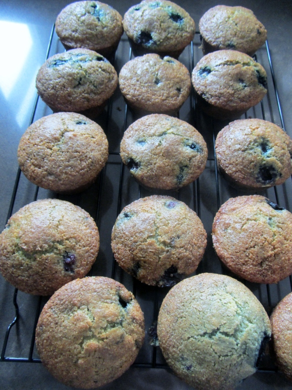 Let the muffins sit in the pan for 5 minutes and then transfer to a cooling rack.  Now they are ready to enjoy!