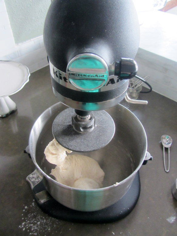 Knead for 3-5 minutes, you want the dough to spring back a bit when you press on it.  This can also be done by hand.