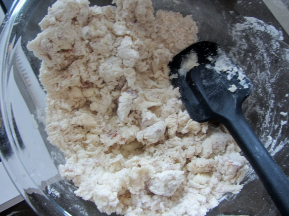 Stir together until combined.  Knead a few times if the mixture needs to come together more.