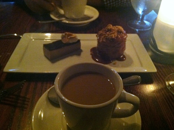 Dessert was my favorite part (shocking, right?).  French press coffee, with Crème Fraîche Coffee Cake & Coffee Panna Cotta