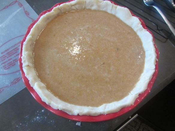 Pour in the pie filling.