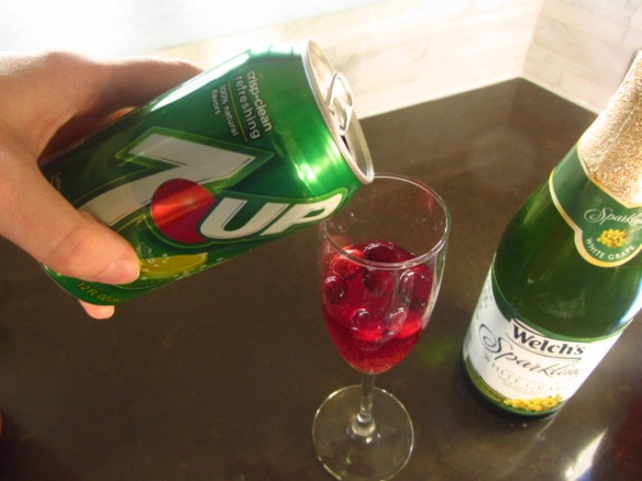 Top the remaining glass with half 7-Up