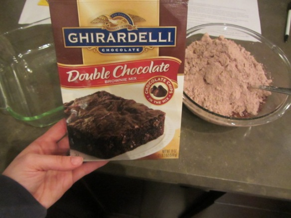 Make some brownies, prepare according to box directions or make homemade brownies.  Let the brownies cool completely.