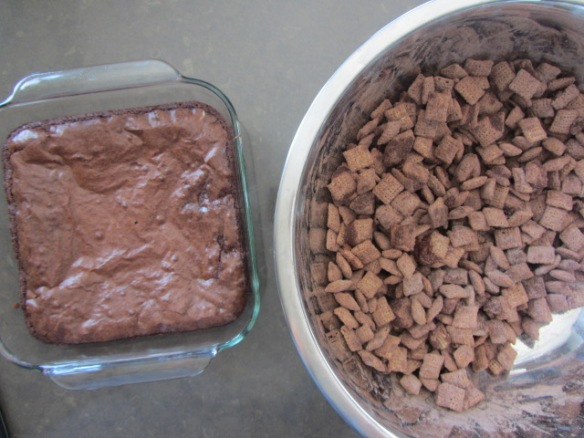 Puppy chow + a pan of brownies, great combo!