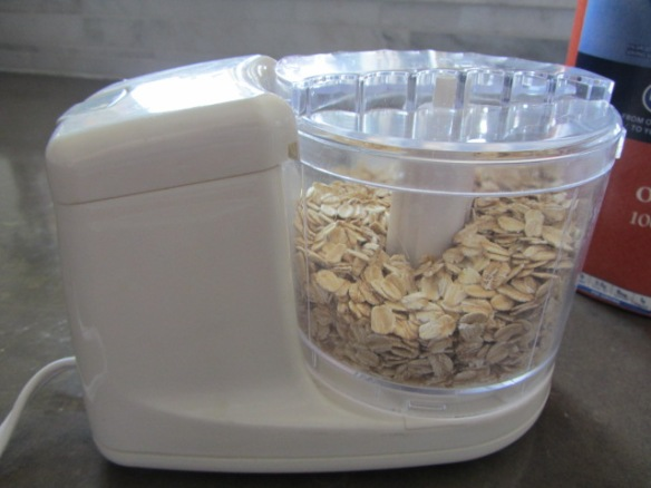Pulse the oats in a food processor, about 15 pulses will do.