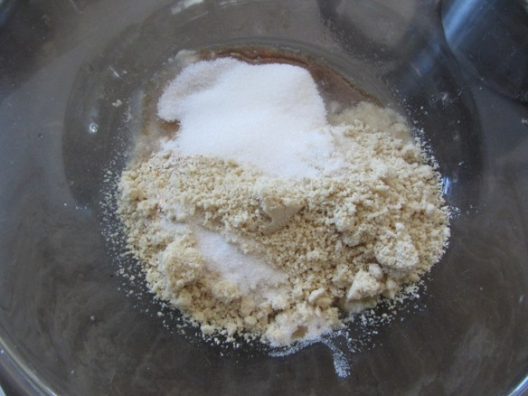 Add the oat flour, almond meal, sugar, and salt.  Mix until combined.