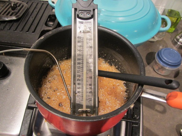 Heat the mixture until it reaches 260 degrees.