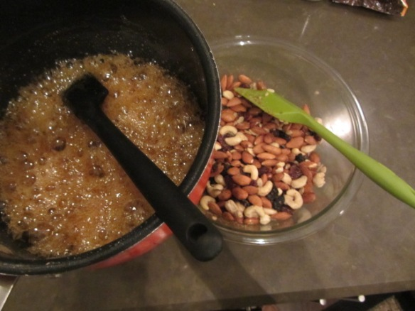 Quickly pour over the nut mixture.