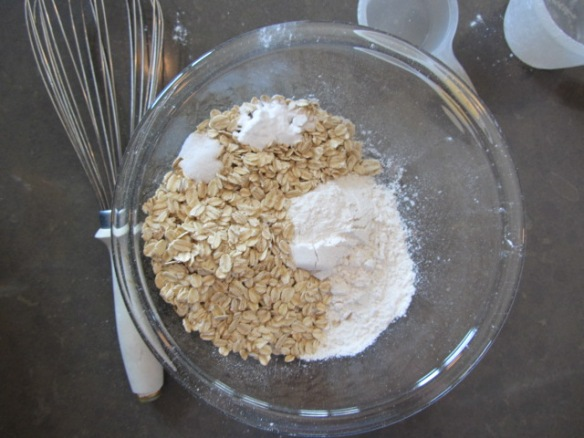 Whisk together flour, oats, salt and baking soda in a medium bowl.