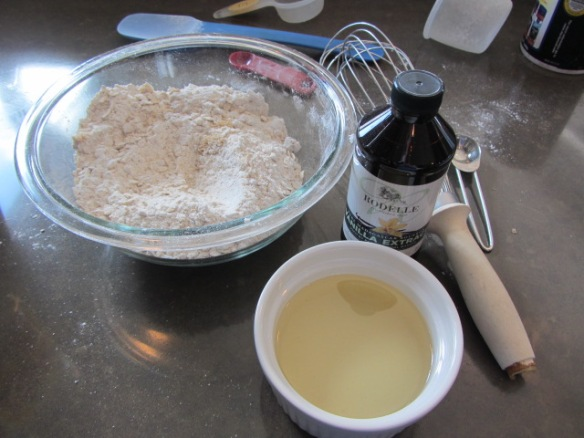 Stir in vanilla and melted coconut oil (or butter) until combined.