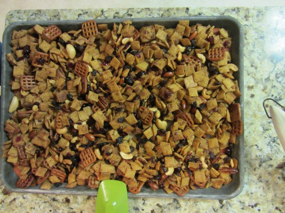 Pour the Chex Mix onto a lined baking sheet to dry out overnight (or at least 2 hours, if you can't resist).  Enjoy!