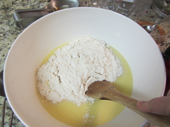 Add the flour and stir until a dough has formed.