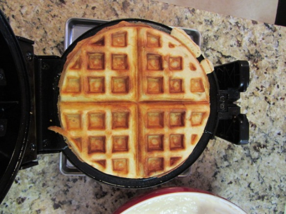 Follow your waffle iron's recommended cooking time, typically around 6 minutes.  ENjoy!