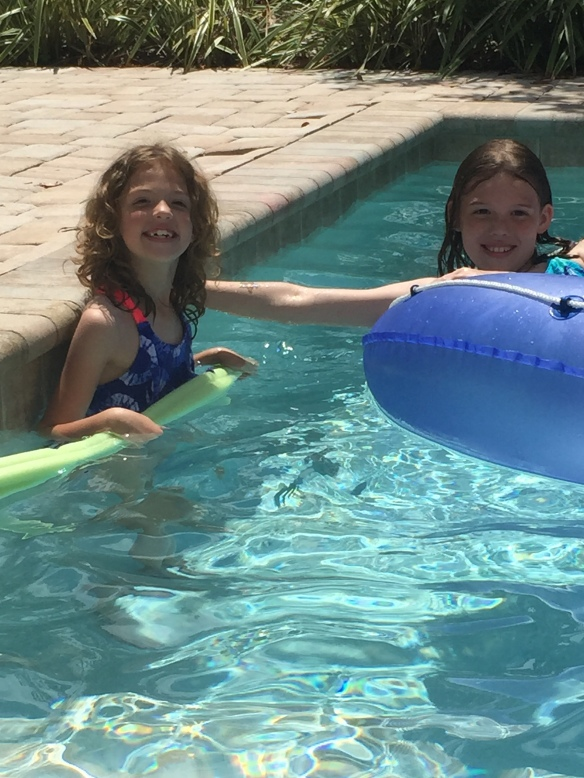 My nieces, Ava & Ruby, in the pool.