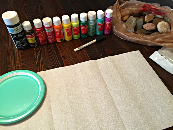 All you need are rocks, paint, & paint brushes.  Easy!