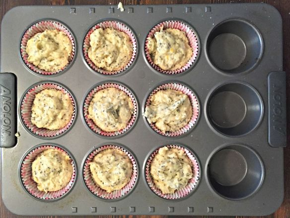 Pour into muffin liners, about 3/4 full.  Bake for 13-15 minutes in 400 degree oven. Enjoy!