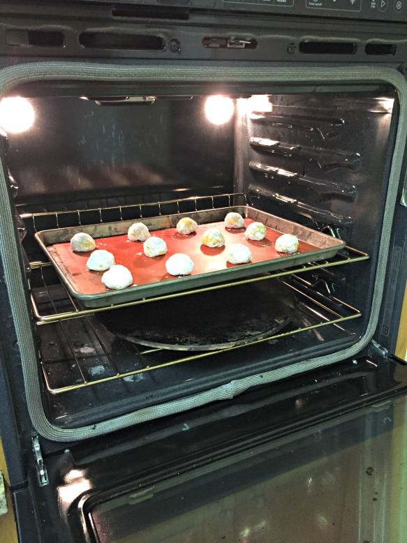 Bake for around 10 minutes.  Remove from oven & cool on cookie sheet for a couple of minutes.  Then remove from cookie sheet and cool completely on a wire cooling rack.  Enjoy!