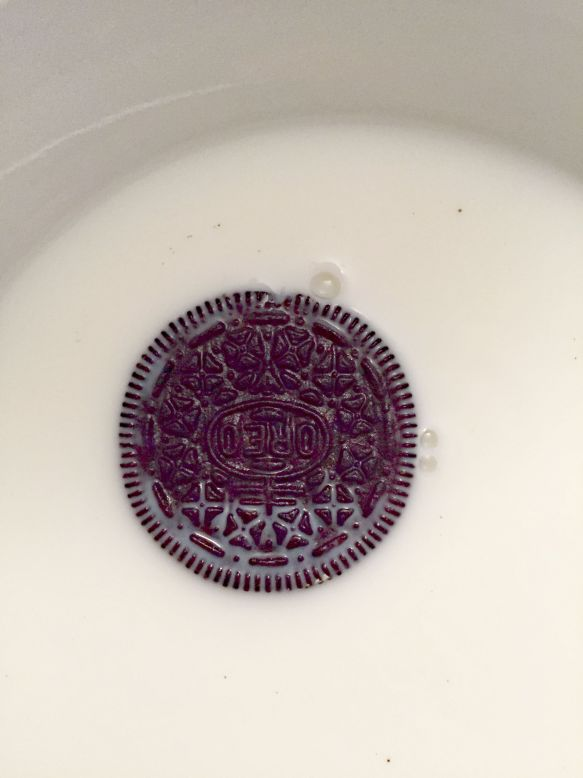 Dip each Oreo in milk.