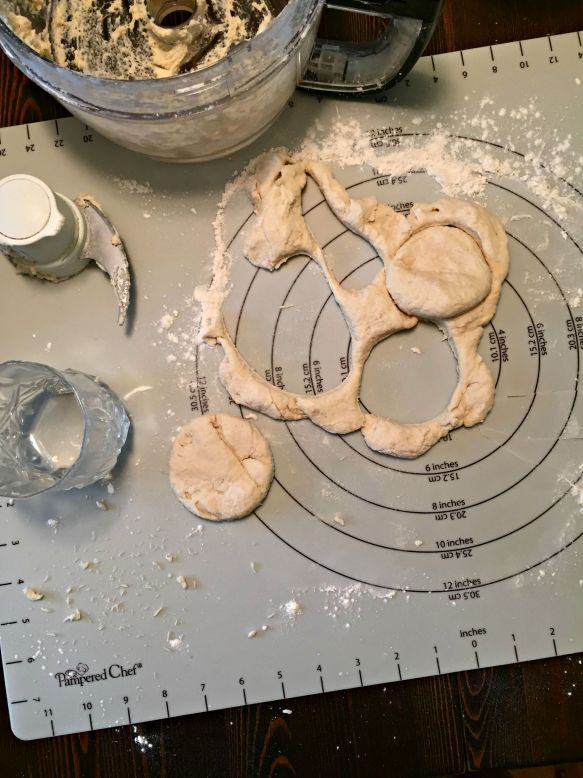 Cut the dough into squares or punch out circles.