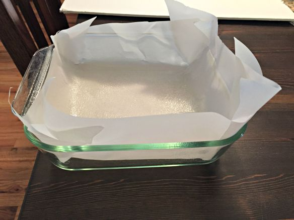 Spray and line an 8x8-inch baking dish with parchment paper. Set aside.