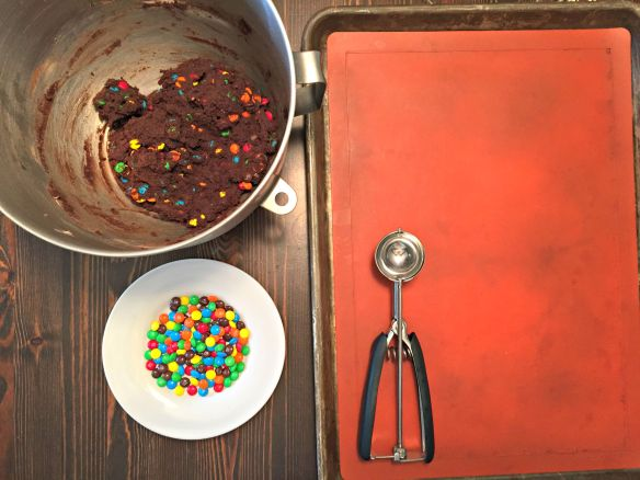Chilled dough, lined cookie sheet, dough scoop, and extra M&Ms. Let's get these cookies going!