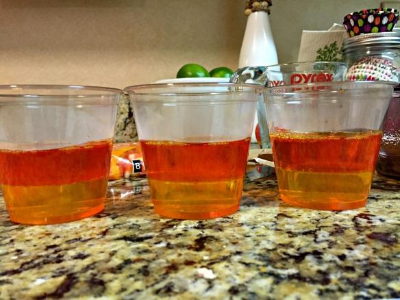 Pour the orange Jello evenly over the yellow Jello. Refrigerate until set.