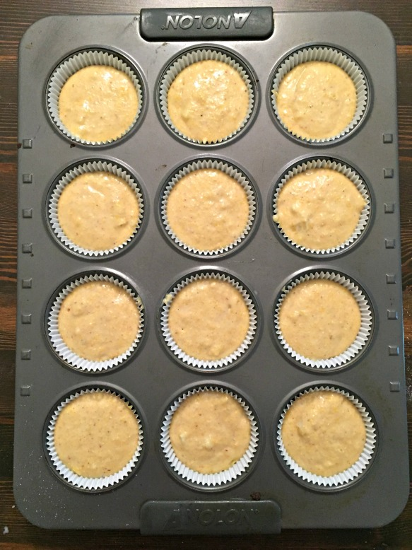 Fill each cup 3/4 full with batter.