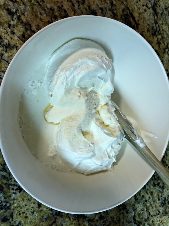 Mix together the cool whip and pudding.