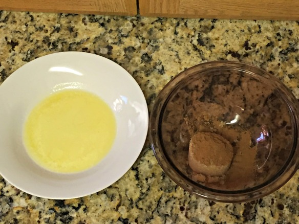 Melt butter in one bowl and mix the brown sugar and cinnamon in another bowl.