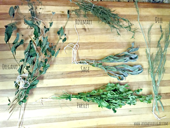 All dried out. Now you just need to remove the herbs from their stems and crush to your desired size. Store in airtight containers.